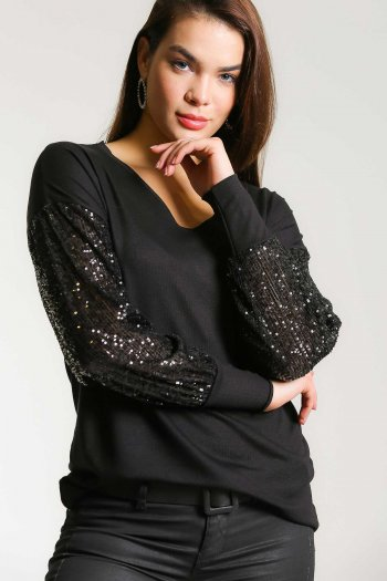 Sequined sleeve V neck blouse