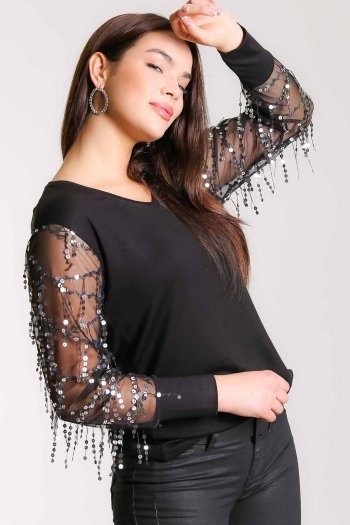 Sequined tassel detailed sleeve V neck blouse