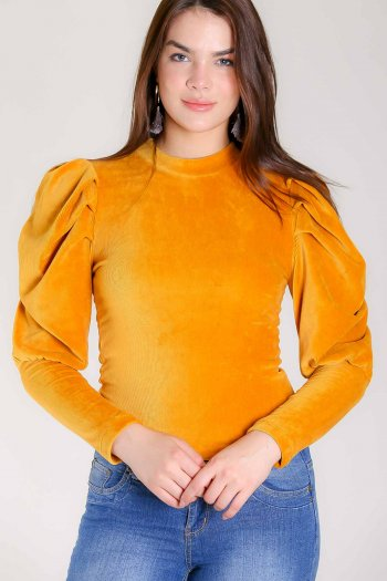 Balloon sleeve velour blouse