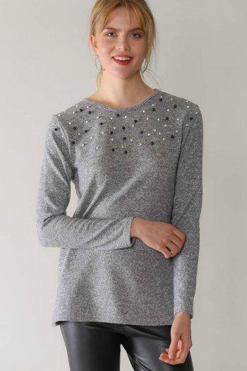 Casual robası inci detaylı yumoş bluz