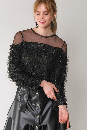 Retro mesh detailed string bearded blouse