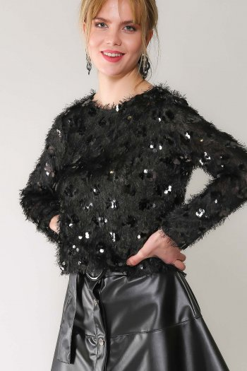 Retro siyah pul payetli simli sakallı bluz