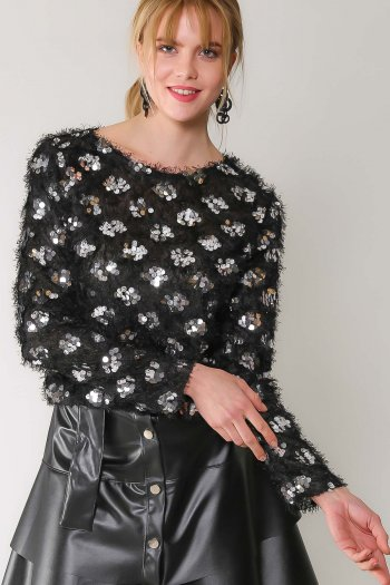 Retro silver sequined glitter detailed blouse
