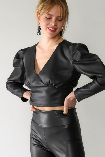 Vintage balloon sleeve V-neck faux leather blouse
