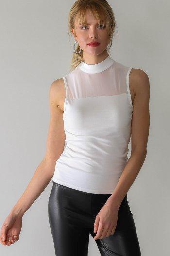 Casual robası mesh detaylı düğmeli bluz