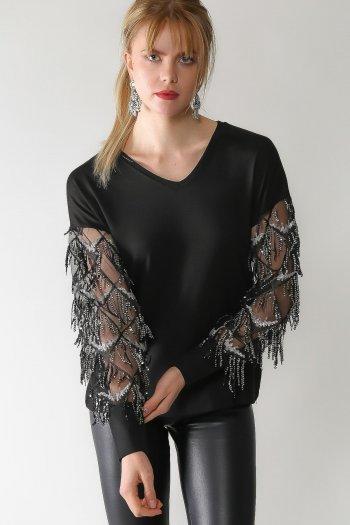 Retro tassel detailed sleeves V-neck blouse
