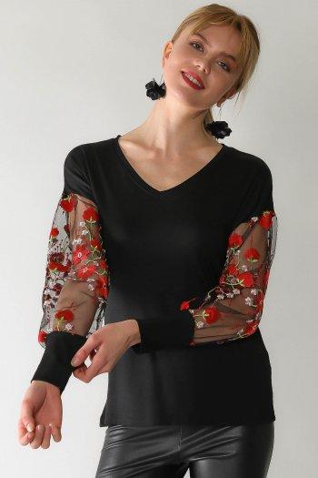 Retro rose embroidered sleeves V-neck blouse