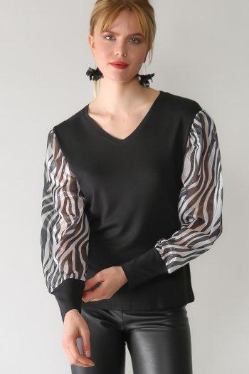 Retro zebra-patterned sleeves V-neck blouse