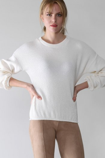 Crew neck blouse with elastic sleeve and waist