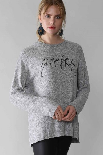 Casual slogan printed oversize blouse