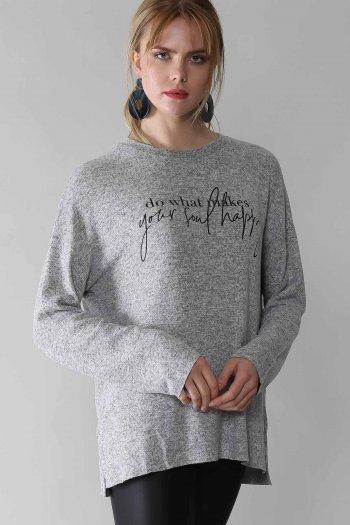 Casual slogan baskılı salaş bluz