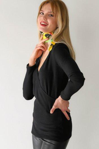 Fold V Neck blouse