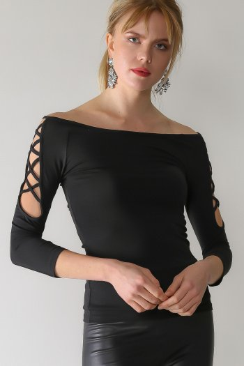 Boat neck cold shoulder blouse