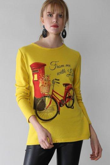 Casual bisiklet baskılı salaş bluz