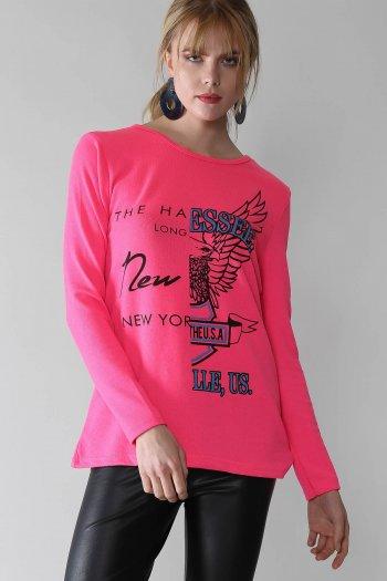 Casual eagle printed sloppy blouse
