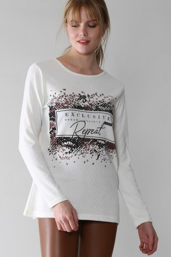 Casual slogan printed sloppy blouse