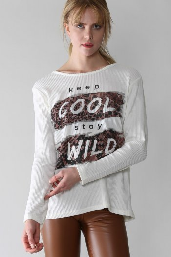 Casual leopard slogan printed sloppy blouse