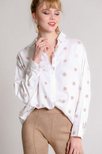 Snow ball embroidery woven shirt