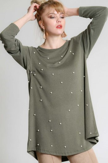 Pearl embroidered oversize tunic