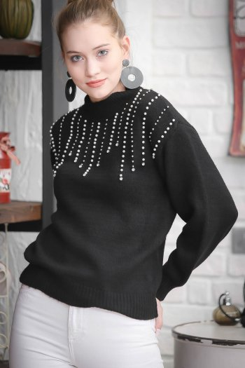 Vintage pearl handicrafts detail sweater