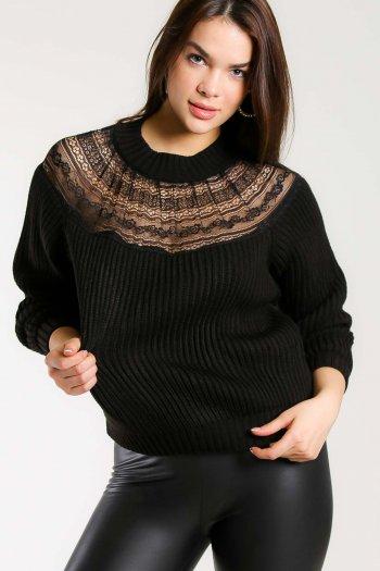 Lace bib detailed sweater