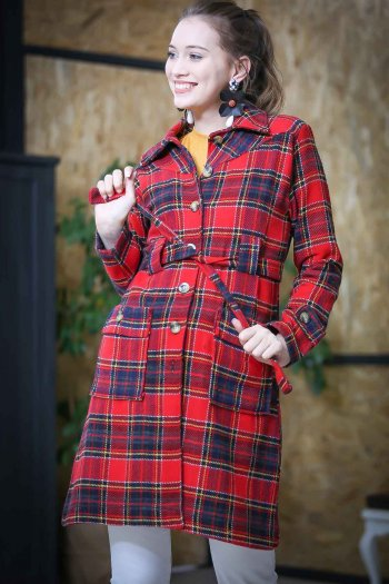 Retro checkers sturdy belted jacket pockets