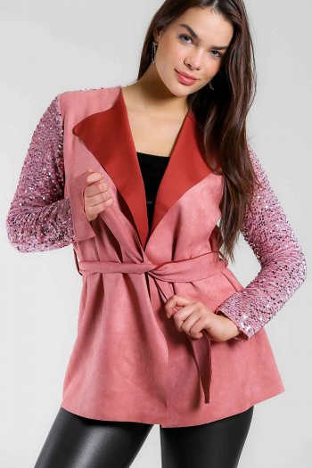 Suede wrap jacket with sequin sleeve