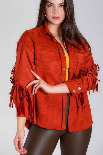 Suede jacket with tassel detailed sleeves