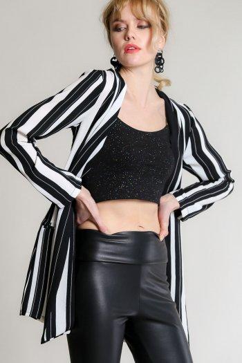 Black and white striped retro jacket