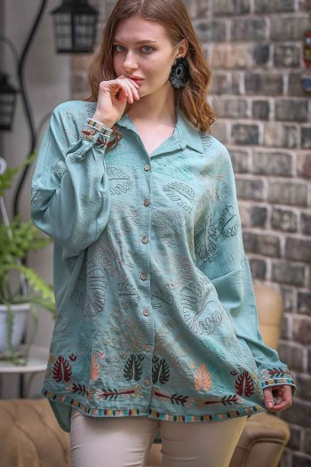 Tropical leaf embroidered camel base oversize tunic woven shirts