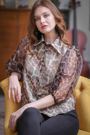 Retro leopard-print organza shirt front body coated balloon arm