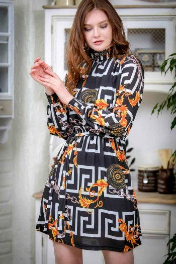 Helen Vintage chain pattern collar and cuffs of dresses lined gipel