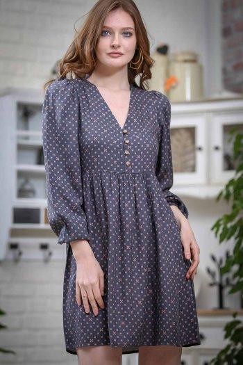 Retro floral button crispy detailed balloon sleeve woven dress