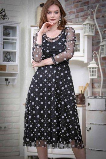 Vintage flock-lined mesh dress printed score
