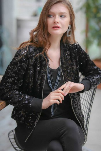 Retro sequin embroidered lined bomber jacket