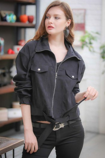 Retro giant collared coat belted waist pockets