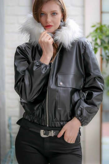 Vintage hooded detailed vegan stuffed artificial leather coats