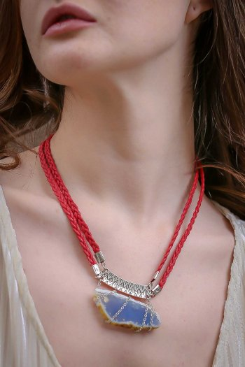 Natural red agate stone necklace bohemian braid rope