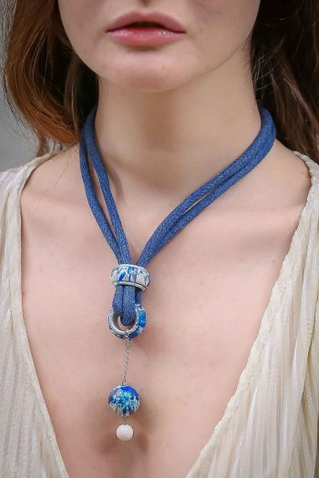 Blue giant rope beaded necklaces