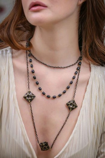 Bohemian black beads necklace