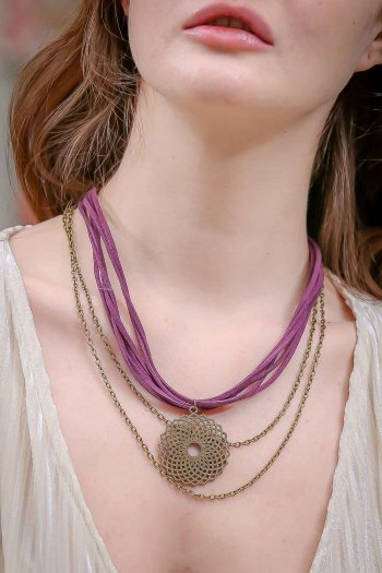 Bohemian burgundy antique yellow spiral rope necklace