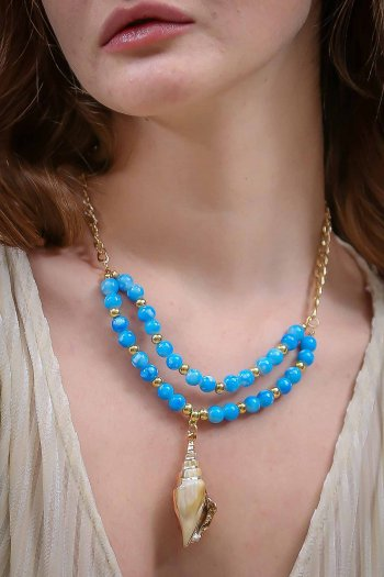 Shellfish blue glass beads necklace