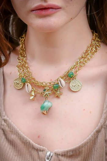 Retro gold necklace chains shellfish
