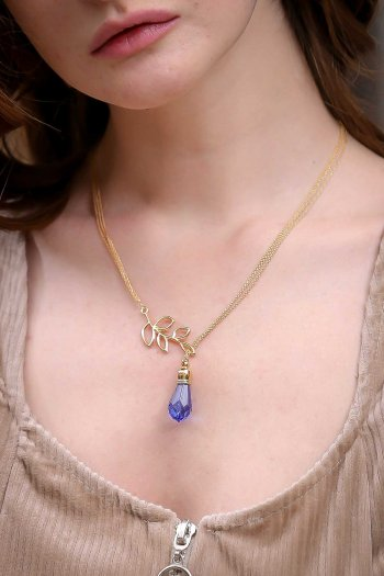 Gold leaf purple bead necklace