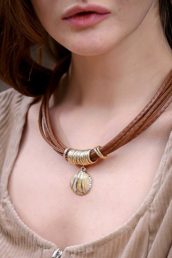 Bohemian coffee imitation leather rope necklace mussels