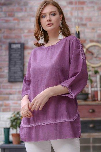 Pompom detail washed linen bohemian blouse