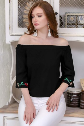Off shoulder blouse with flower embroidered sleeves