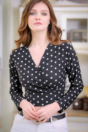 Double breasted polka-dot print blouse