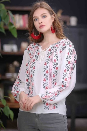 Canvas embroidery detail blouse