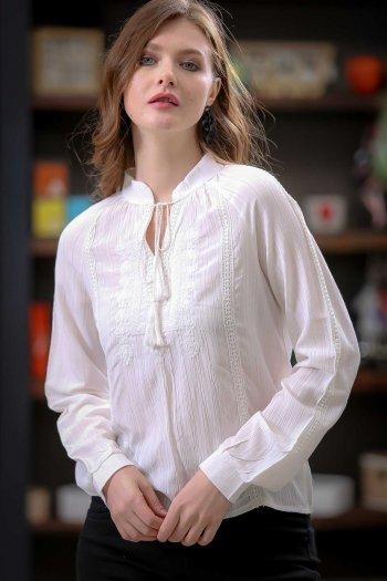 High neck tie detailed embroidery blouse